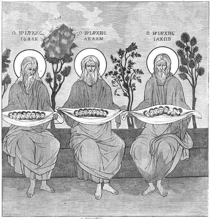 De drie patriarchen; schilderij in de trapeza te Laura.