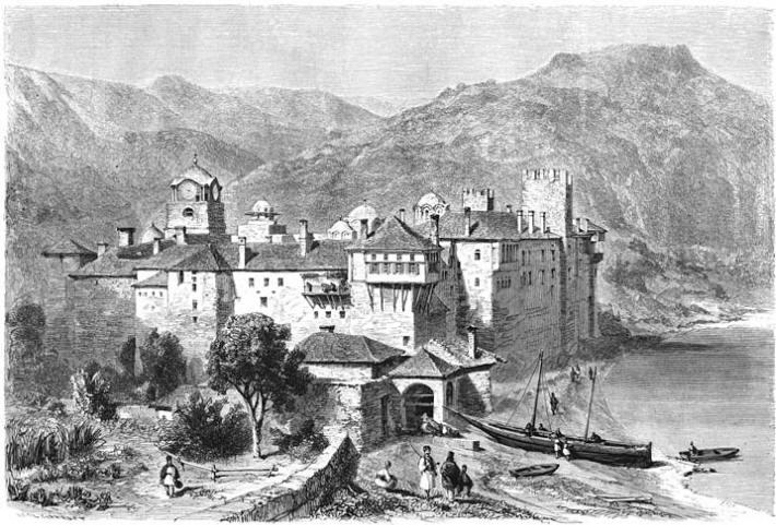 Het klooster Esphigmenou.